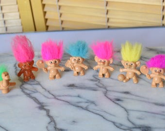 Vintage Trolls Figures Pencil Toppers Made in China with Various Coloured Hair Tennis Player Footballer Bunch Flower Scarf Dinosaur Korea