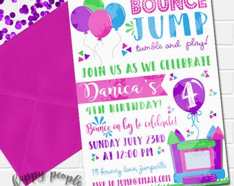 Girl Bounce House Invitation, Bounce House Birthday, Girly Bouncy House Party, Jump Invitation, Printable Bounce House Invite, Pink Bounce