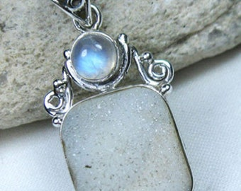 Druzy, Moonstone with Solid 925 Sterling Silver Handmade Jewelry Pendant