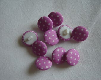 10 fabric buttons, purple / / 15 mm