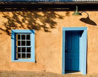 New Mexico Photograph Adobe wall blue window and door Southwest New Mexico photo print.