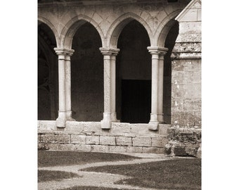 Fine Art Sepia Photography of Cloisters in St Emilion France