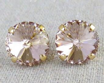 Swarovski Blush Pink Spike Cut Round Crystal Chaton Gold Post Earrings Wedding Bridal Jewelry Bridesmaid Gifts