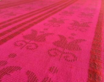 """tablecloth rectangle-cotton -red fuscia- woven strip-moden tablecloth-65""""x54"""" inc"""