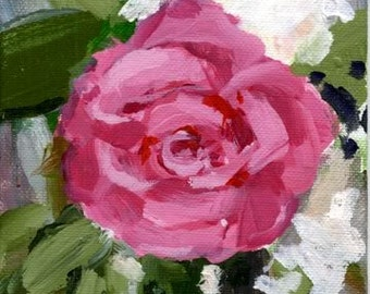 """Pink Rose, 5""""x7"""" acrylic painting on canvas board, unframed"""