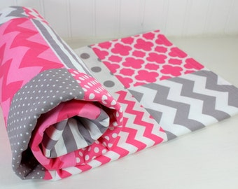 Baby Blanket, Nursery Decor, Baby Shower Gift, Minky Baby Blanket, Patchwork Quilt, Baby Bedding, Pink, Gray, Grey, White, Baby Girl