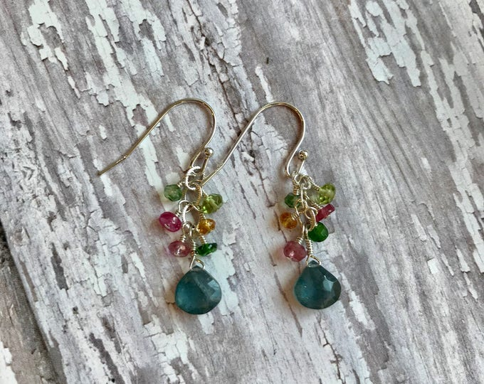 Moss Aquamarine and Gemstone Earrings--RESERVED