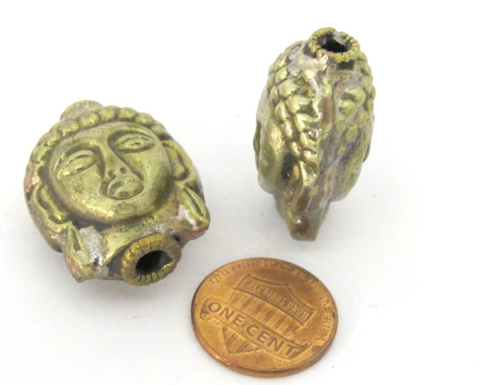2 Beads - Reversible Light weight antiqued silvery brass tone Tibetan Buddha bead from Nepal- BD851s