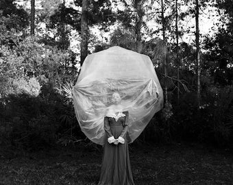 Warmly In The Cocoon Of Her Own Thoughts FREE SHIPPING Surreal Photo Print Fine Art Black & White Portrait Dark Art Plastic Bubble Head