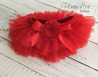 Red Christmas tutu skirt bloomers diaper cover embellished shabby chiffon flower, ruffles all around newborn infant toddler little baby girl