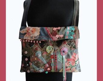 """Boho style shoulder bag """"Plum""""  OOAK Bag, boho  purse messenger bag"""
