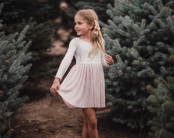 Metallic Holiday Dress in Blush