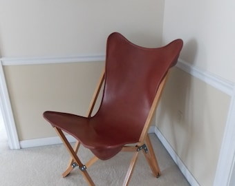 Tripolina Folding Chair with Chestnut Leather Cover
