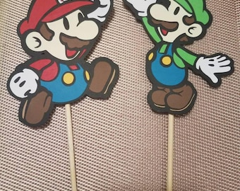 Set of 12, Mario and Luigi Cupcake Toppers, Donut Toppers, Food Toppers