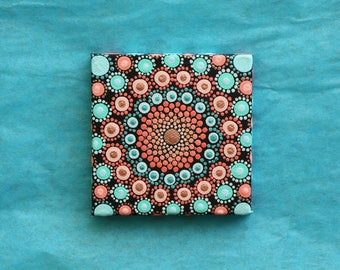 "Hand painted coral and blue mandala on canvas 3"" x 3"" dot pointillism art"