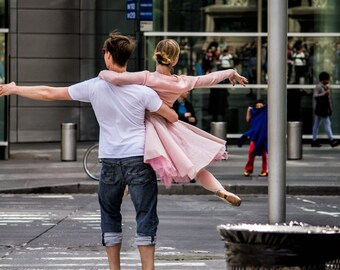 Manhattan Dance, Romantic, Ballet, New York, Photograph, Pink, Street Photography, Couple, NYC, New York Photography