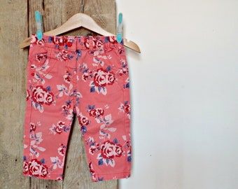 denim pink PANTS - 6 / 9 months - pink roses pair of trousers jeans clothing baby girls' clothes apparel little princess babyshower gift