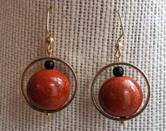 orbital earrings, rust