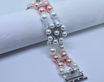 """Apple Watch Band, Women Bead Bracelet Watch Band, iWatch Strap, Apple Watch 38mm, Apple Watch 42mm, Coral Pink, White Faux Pearl 6 3/4"""" - 7"""""""