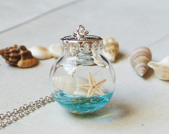 Seashells necklace, Beach Jewelry, Glass Bottle jewelry, Nautical, Shell Necklace, Silver Necklace, Glass globe Necklace, Gift for Her