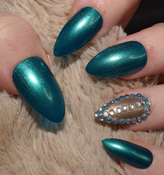 Teal Fake Nails, Long Stiletto False Nails, Hand Painted & Decorated ...