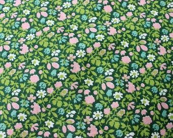 So sweet vintage retro dark green Curtain Valance with floral pattern in pink / white and  turquoise.  Made in Sweden, Scandinavian