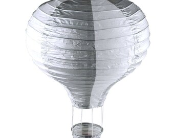 Striped Hot Air Balloon Paper Hanging Decor, Silver, 15-Inch
