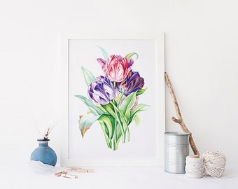 Spring Flowers Tulips Printable Watercolor Art Print, Still Life Watercolor flowers, Flower Bouquet, Watercolor Floral Painting Wall Art