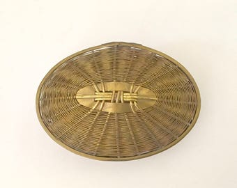 Vintage Woven Brass Wire Lidded Box