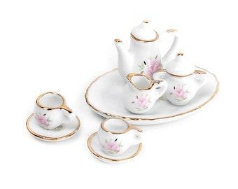 8 pc Miniature Dollhouse Plates White floral Porcelain Set Design Cups Plastic Dollhouse Tableware MD0530