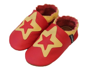Baby Boy Shoes, Toddler leather Shoes, Baby Star Shoes, Leather Baby Shoes, Red Shoes, Boys Soft Sole Shoes, Baby Shoes, Handmade Australia