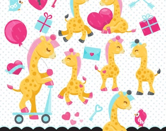 Happy Giraffe Day Clipart. Valentine's day graphics, valentine backgrounds, Valentine's day baby animals, baby giraffe love
