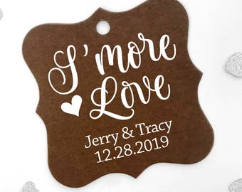 S'more Love Personalized Wedding/Engagement Favor Hang Tags, Color Cardstock Favor Tags (FS-008-CC)