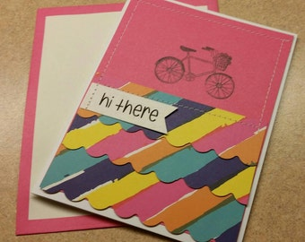 Sewn Handmade Friendship Card. Thinking of You. Just Because. Blank Card. Bicycle