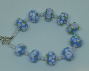 bracelet floral,blue and white , sterling silver clasp and lampwork beads