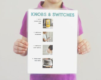 Doorknobs and Light Switches Step-By-Step Cleaning Chore Guide- DISINFECTING WIPE- Chore Chart