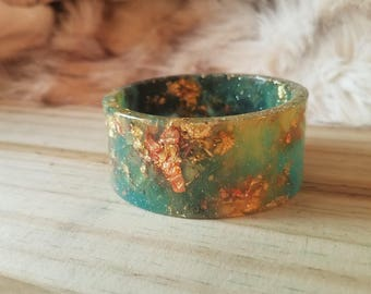 Green and Gold Resin Cuff Bangle