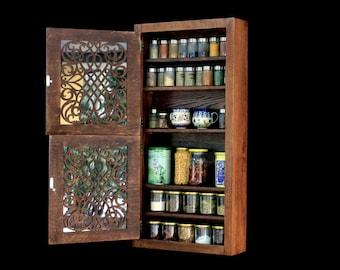 Beautiful Big Spice Cabinet / Spice Rack For Kitchen With Amazing Custom  Doors (dark Walnut