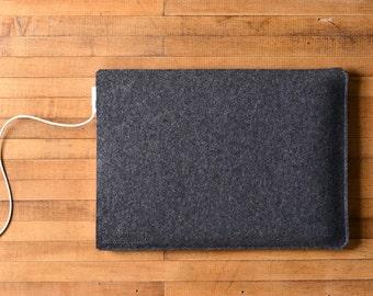 "Simple MacBook Pro Sleeve - Charcoal Felt - Short Side Opening for the New 13"" MacBook Pro or the New 15"" MacBook Pro"