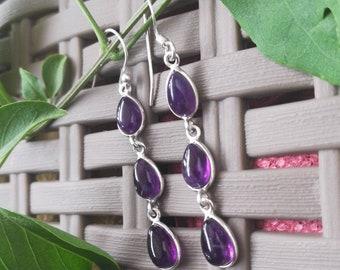 Amethyst Earrings, 925 Silver Earrings, Sterling Silver Earrings, Purple Stone Earrings, Gemstone Earrings, Bezel set Earrings