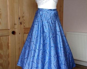 50's vintage full swing sapphire blue skirt