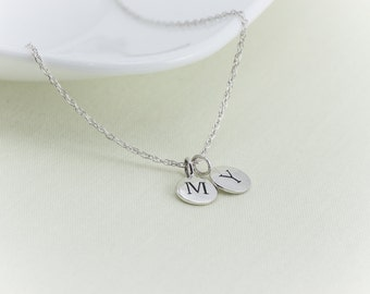 100% Sterling Silver Letter Necklace, Initial Necklace, Personalized Necklace, Name, Sterling Silver, Circle Disc Charm Two ( 2 ) Initial