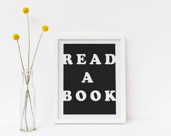 Read a Book Quote Retro Minimalist Art Print