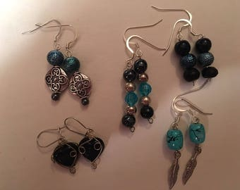 Black and Blue earring set