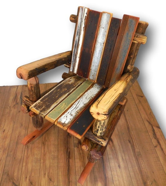 Rustic Rocking Chair Log Furniture Reclaimed Wood Rocking