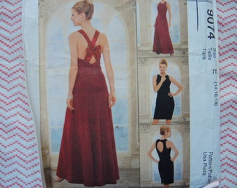 Vintage 1990s sewing pattern McCalls 9074 Misses evening dress in two lengths UNCUT size 14-16-18