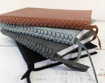 Leather Writing Journal with Fishtail Braided Spine