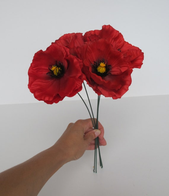 10 red poppies artificial flowers silk poppy 43 flower like this item mightylinksfo