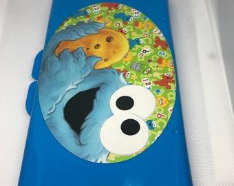 Custom name blue diaper wipe case