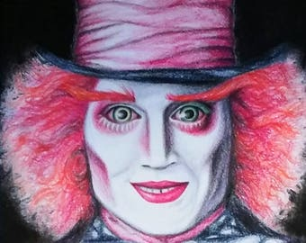 Mad Hatter Original Colored Pencil Drawing